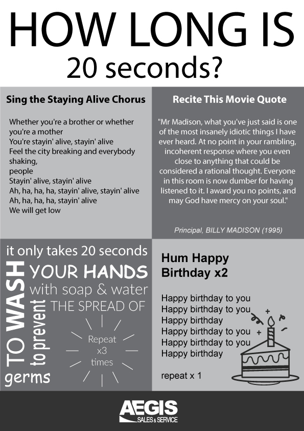 How long is 20 seconds to wash your hands
